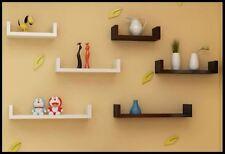 Bremen Set of 3 U Shaped Floating Wall Shelves DVD CD Book Black Storage Shelf