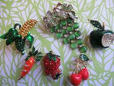 Crystal Rhinestone Brooch Lot 6 Food Grape Apple Carrot Strawberry Collection