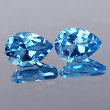 AMAZING LUSTER NATURAL SWIZZ  BLUE TOPAZ 6X4MM EARING PAIR LOOSE  GEMSTONE