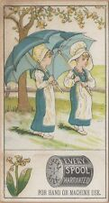 Victorian Trade Card-Eureka Silk Sewing Thread-Kate Greenaway-Twins w/ Umbrellas