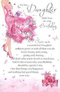 """For You Daughter With Love Birthday Card. Large Card 9"""" x 6"""""""