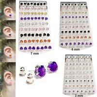 New Sterling Silver 925 Stud Earrings Heart Shape Earring Crystal Solid