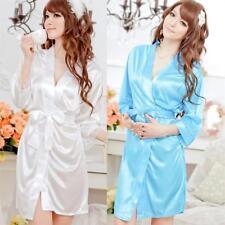 Women Sexy Faux Satin  Silk Underwear Lingerie Nightdress Sleepwear&Robe