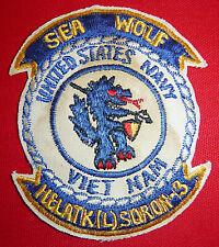 SEA WOLF - Original Patch - US NAVY HELICOPTER ATTACK SQN 3 - Vietnam War - 5649