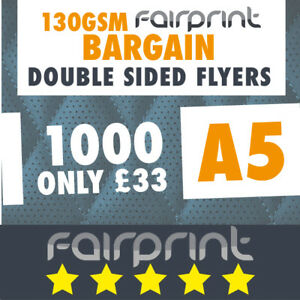 1000 A5 Flyers Leaflets Printed 130gsm Gloss