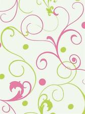 Girls Hot Pink & Lime Green Scroll On White York Wallpaper PW4059