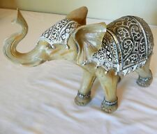 "Elephant with trunk up Figurine 9.25"" Tall * Mirrors, Happy, Good Luck, China"