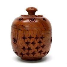 Trinket box stars teak wood carved pill box stash container screw on top New