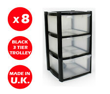 8 x 3 DRAWER PLASTIC STORAGE DRAWER - CHEST UNIT - TOWER - WHEELS - TOYS - BLACK