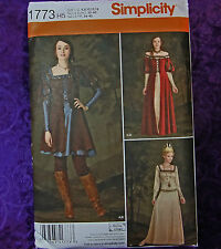 Simplicity 1773 Renaissance Costume Dress Gown Lined Overdress 3 Looks 6-14 New