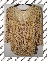Tan Animal Print Shirt Blouse  Women's Plus Size 1x or 2x 3/4 Sleeve New