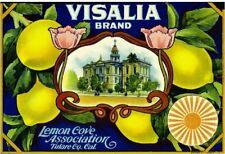Visalia Tulare County Lemon Citrus Fruit Crate Label Vintage Art Print