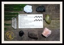 AQUARIUS Gemstone Kit 7 Zodiac Aquarius Gemstones Set Healing Crystals Zodiac Aq