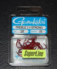 8 Pack Gamakatsu 57309 Superline 2x Red Round Bend Treble Hooks - Size 2