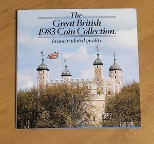 1983 UK Brilliant Uncirculated Coin Set. Bunc/Unc/Bu, Royal Mint, GB, Martini