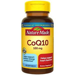 Nature Made CoQ10 100 mg Softgels, 40 Count for Heart Health and Cellular Energy