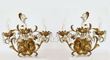 Pair Antique Italian Tole Gilt Crystal Electric Wall Sconces