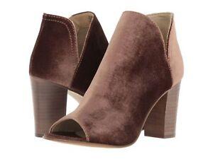 Steve Madden Kaitt Velvet Booties Sz 8 NEW Shoes Heels Taupe Velour Peep Toe G6