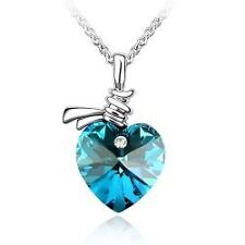 OCEANS HEART Valentines Gift Necklace Pendant w Authentic SWAROVSKI CRYSTAL