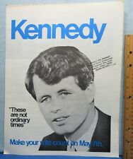 Bobby Kennedy Presidential Campaign Literature ~ Large 4 Page