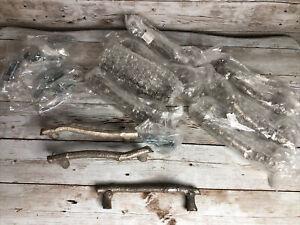 Lot of 10 Metal Twig Branch Antique Silver Drawer Cabinet Pulls NIP
