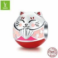 Maneki Neko Soild 925 Sterling Silver Charms Bead For Women Fashion Pendant Gift