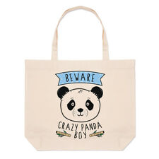 Beware Crazy Panda Boy Large Beach Tote Bag - Funny Animal