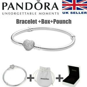 PANDORA S925 Sterling silver Shining Charm Heart Snake Chain Bracelet