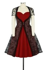 2 Piece Dress With Lace Overlay Rockabilly Retro 1950's Pin up UK 8 to 30 Plus 22 Red