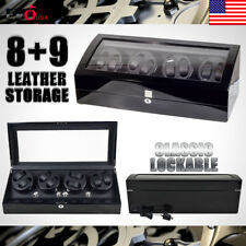 XTELARY Luxury 4 Motor Quad Automatic Watch Winder Display Box Case 8+9 Storage