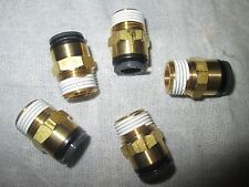 """Lot of 5 SMC 3/8"""" Tube OD x 3/8"""" NPT Straight Male Connector  Fitting KV2H11-36S"""