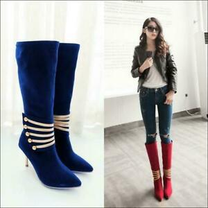 New Womens Decro Knee High Boots High Heel Stilettos Pointy Toe Side Zip Shoes