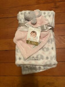 Blankets & Beyond Baby Girls' Pink & White Elephant Print Blanket Lovey Set NWT