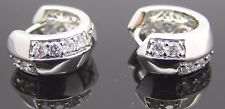 White Gold Plated Clear Cubic Zircon Point Women's/Unisex Small Hoop Earrings