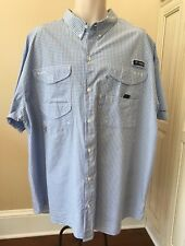 Columbia PFG Super Bonehead Blue & White Short Sleeve Vented Fishing Shirt ~ XXL