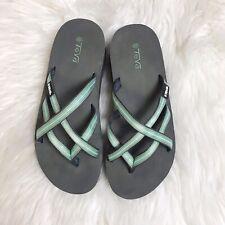 TEVA Women's Mush Mandalyn Wedge Ola 2 Flip Flops Black Green Size 7