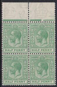 BAHAMAS 1921 SG115 1/2d GREEN MNH MARGINAL BLOCK OF FOUR