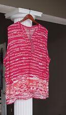 ROSE & THYME  Raspberry & Coral Design Hi-Low Hem Tank Top Blouse SIZE 3X NWT