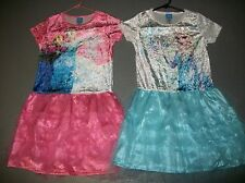 LOT OF 2 DISNEY FROZEN ELSA & ANNA VELOUR TUTU DRESSES SKATING GIRLS SZ L 10 12