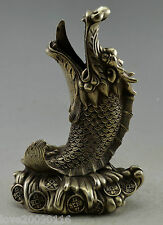 Collectible China Fengshui Silver Plate Copper Carved Dragon Fish wealth Statue