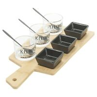 10 Piece Nibble Bowls Snack Dips Wooden Serving Paddle Board Tray Gift Box Set