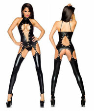 EXOTIC Sexy Lingerie Black PVC Wet Look Faux Leather Vinyl Jumpsuit Playsuit