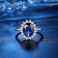 Women Ring Blue Zircon Transparent Noble Engagement Party Ladies Ring