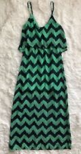 Women's Almost Famous Navy Blue & Green, Sleeveless, Poly Maxi Dress - sz XS
