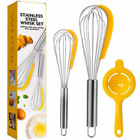 2 in 1 Stainless Steel Kitchen Whisk Blender With Egg Separator Silicone Scraper