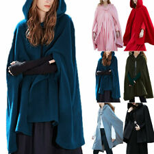 Womens Ladies Woolen Cape Loose Hooded Cloak Poncho Jacket Outwear Coat Costume