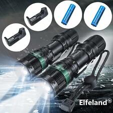 2PCS Elfeland 10000LM LED 3Mode Zoomable Flashlight Torch +18650 Battery+Charger