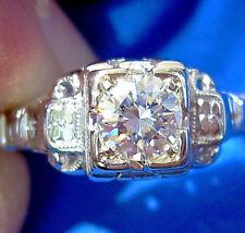 Deco Old European Cut Diamond wedding Engagement Ring Antique Vintage Solitaire