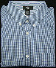 Calvin Klein Navy & White Checked Long Sleeve Dress Shirt - Size XX-Large
