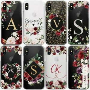 PERSONALISED INITIALS FLOWER PHONE CASE CLEAR HARD COVER FOR MOTOROLA ONE G7 G6